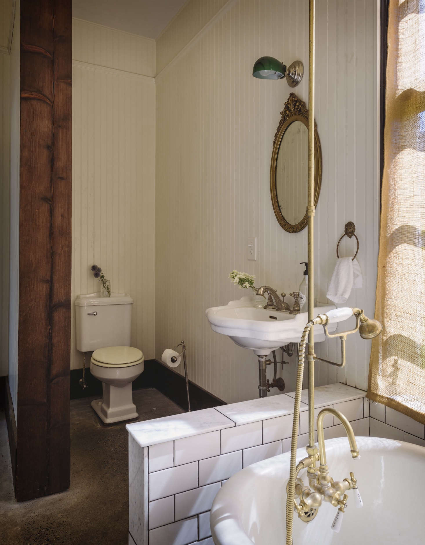 In several cases  Dillon and Pierce bought new plumbing fixtures and  hardware and  aged. Bathroom of the Week  A Vintage Bath on Old Chaser Farm in Vashon