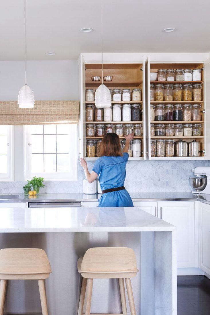 For pantry-organizing tips, see Blisshaus: Bringing Back the Old World Pantry, One Kitchen at a Time plus The Organized Pantry: 8 Rules for Decanting Dried Goods and 7 Favorites: Classic Glass Pantry Storage Jars, both on The Organized Home.