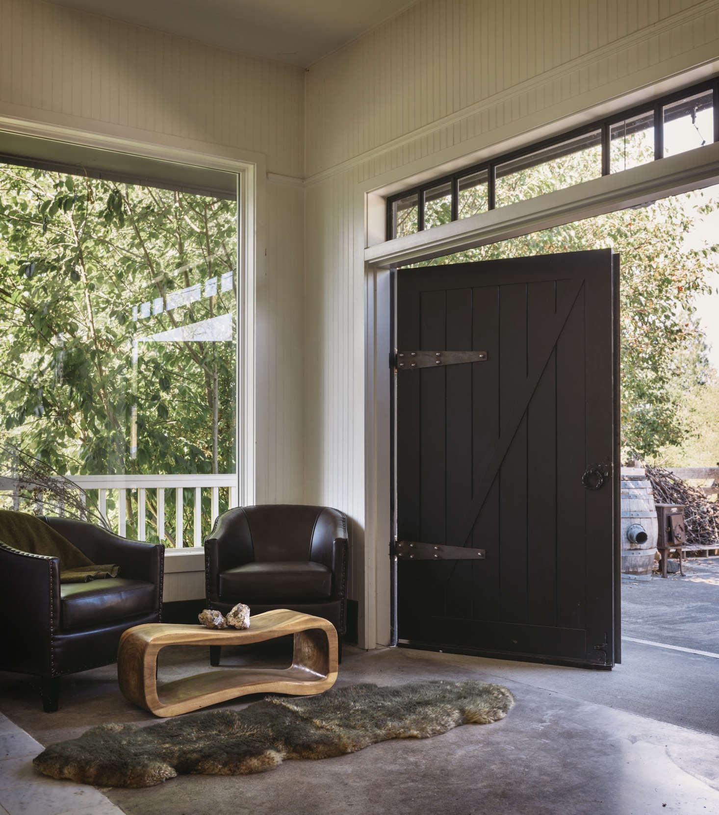 Dillon collaborates closely with friends, including woodworker Steven Withycombe who made the custom barn doors shown here. &#8
