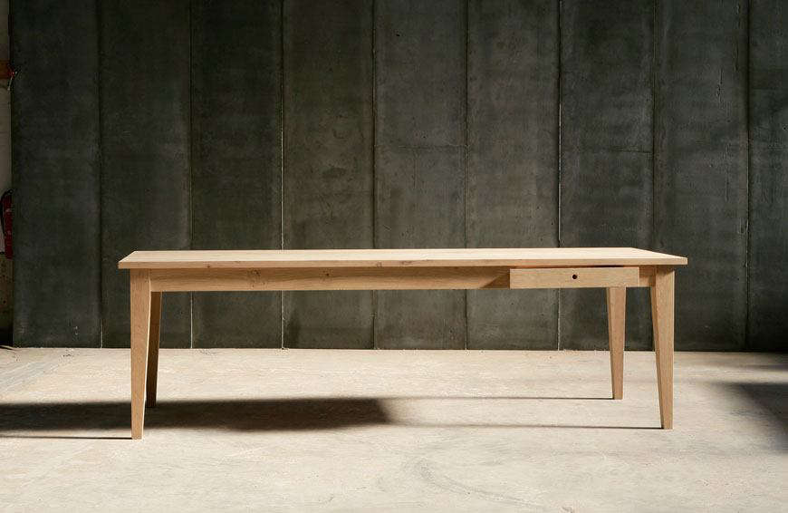 The solid oak 100-centimeter-wide (39-inch-wide)Farmer Table is from Belgian companyHeerenhuis Manufactuur.