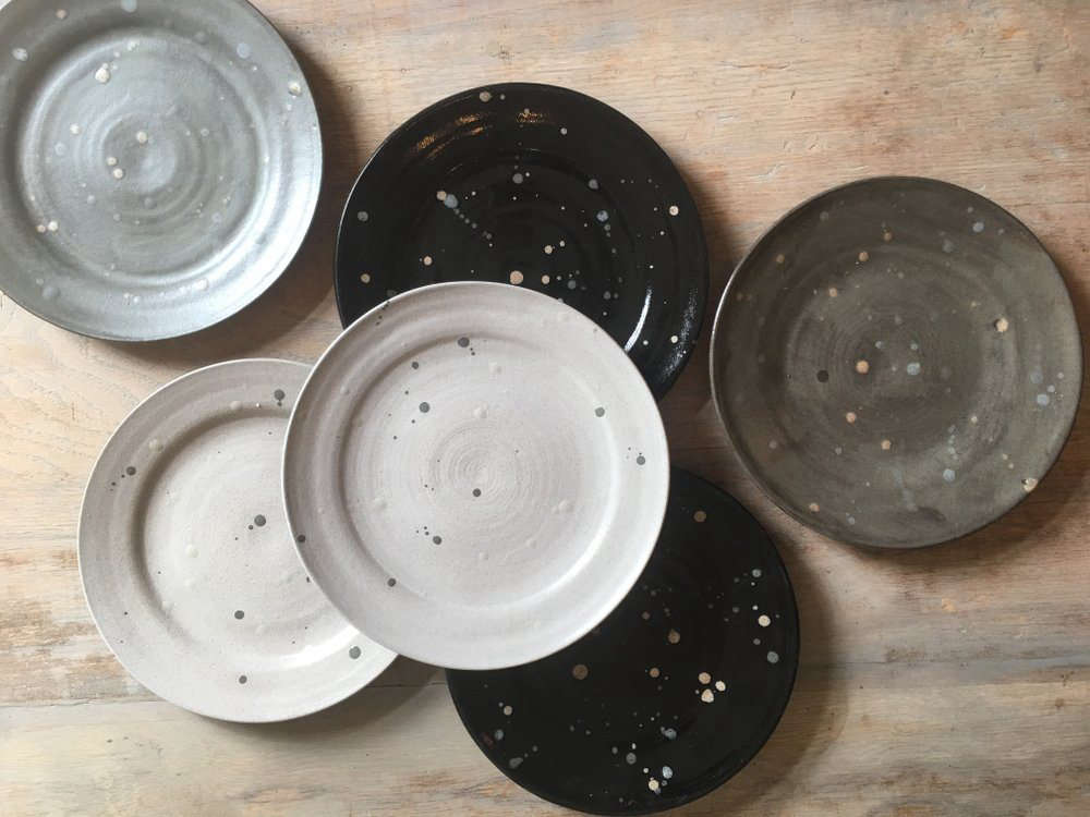 The Wheel-Thrown Splatter Plates come in u201cvariations on a themeu201d earthy & For the Harvest Table: Splatter-Painted Plates from a Pittsburgh ...