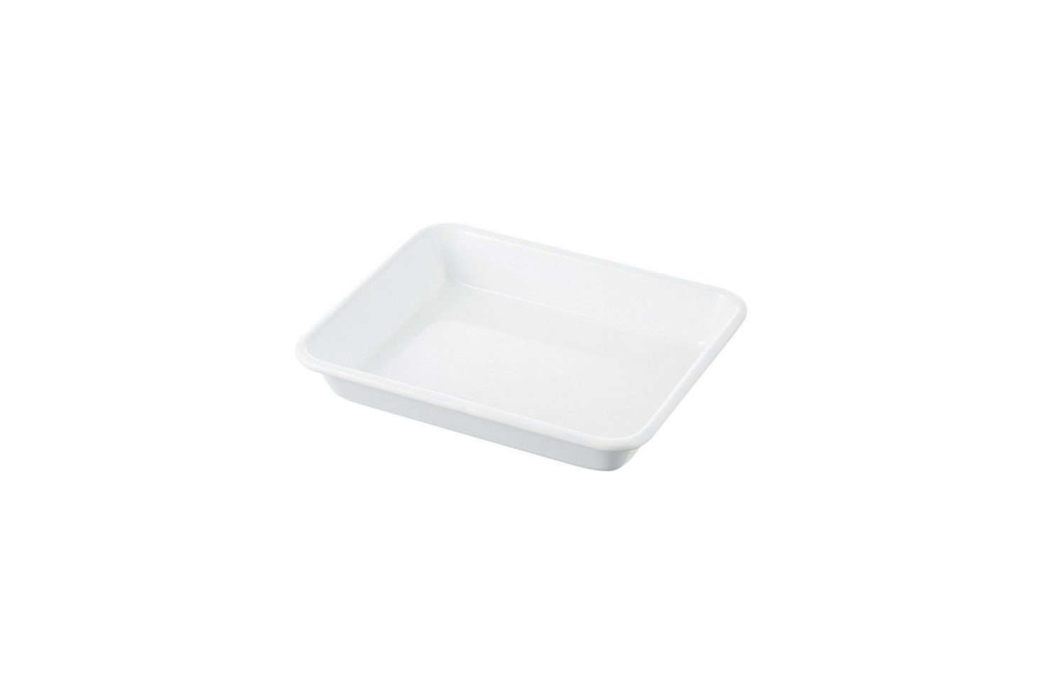 The white enamel trays featured in our bookThe Organized Homeare by Japanese company Noda Horo. We sourced them from Dover Street Market in New York City but you can also find them on Amazon, including the Noda Enamel Rectangle Deep Medium Tray for $3src=