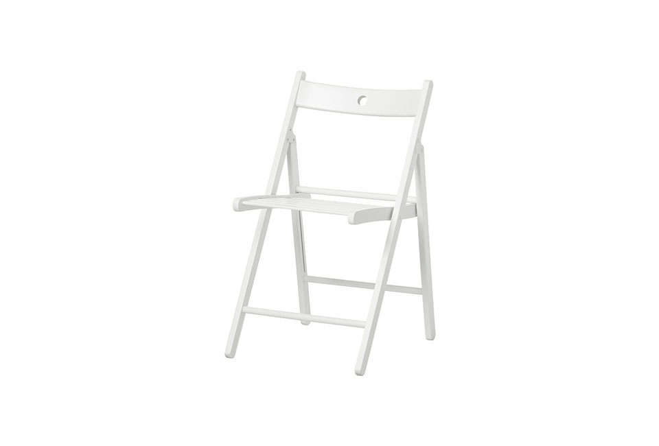 Julie and Francesca both keep a few of the small-profile, surprisingly sturdy Terje folding chairs on hand for entertaining; $24.99.