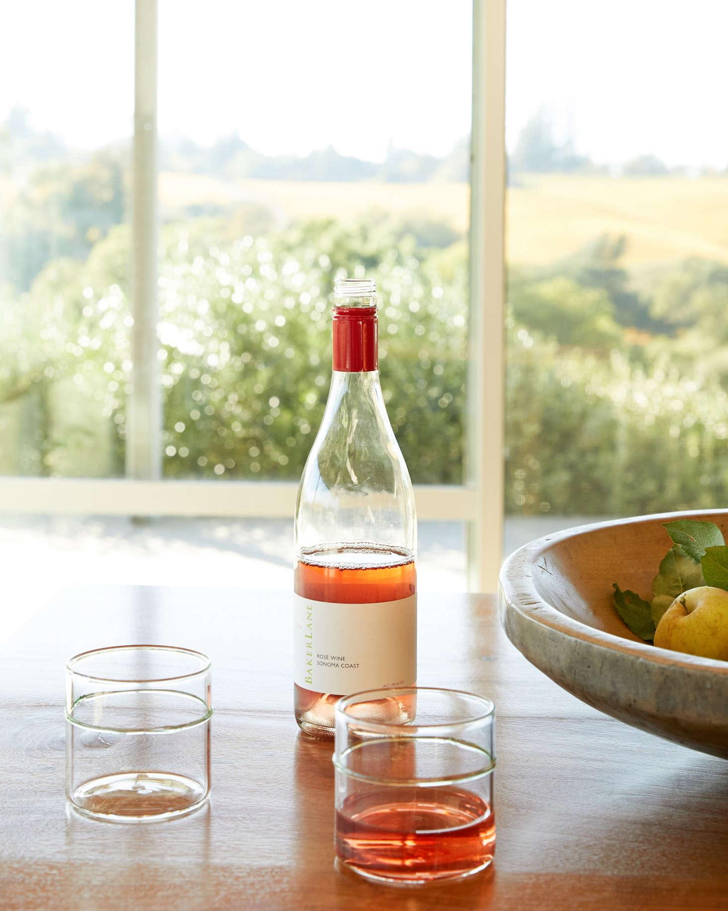 Baker Lane  Rosé ($),served in handblown ItalianAcqua e Vino glasses from Permanent Collection, of which Stephen Singer&#8