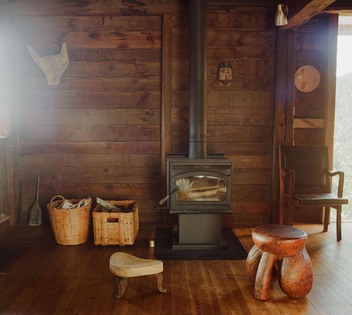 A woodstove heats the interior.