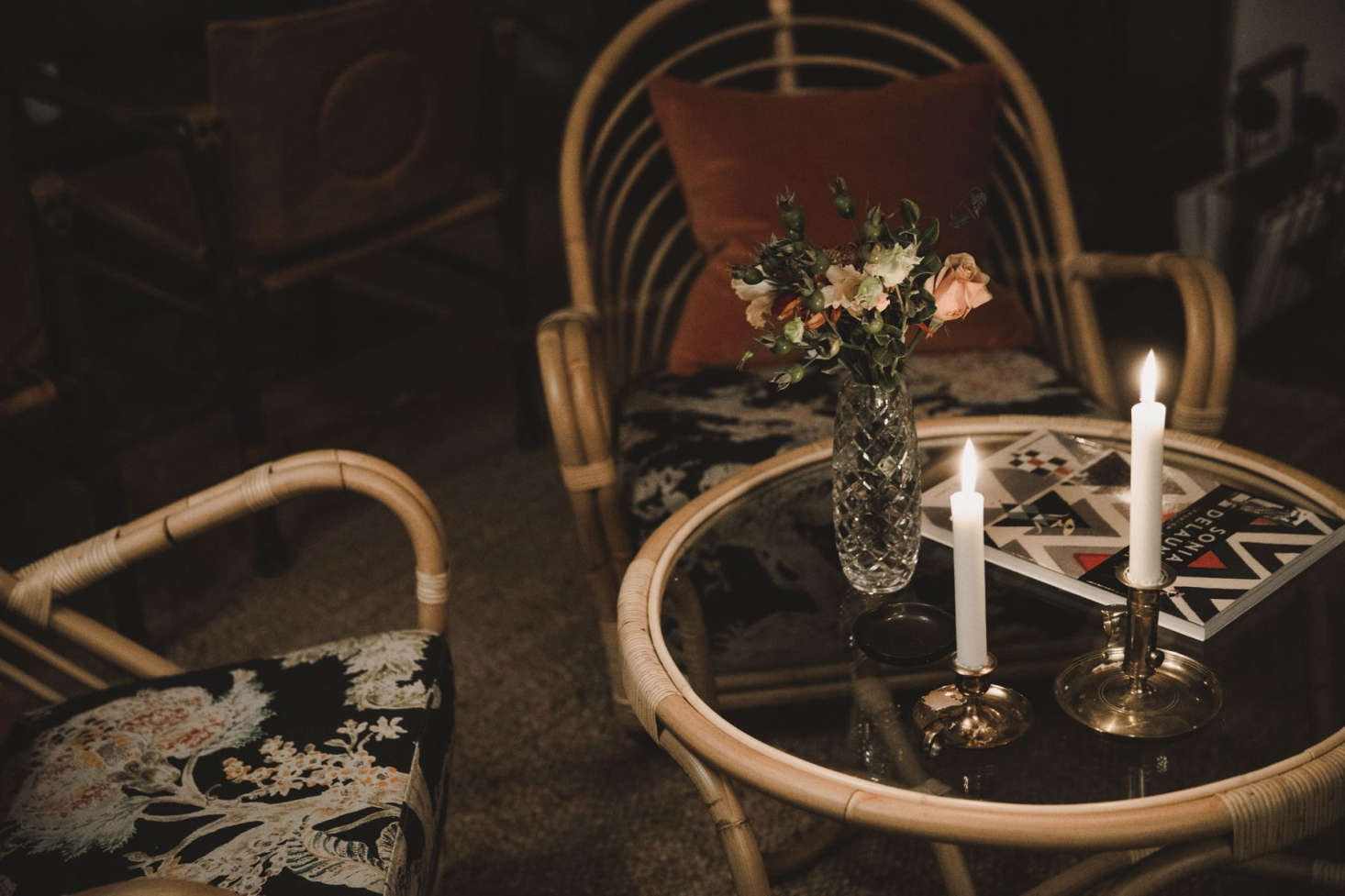 Candles and caned furniture.