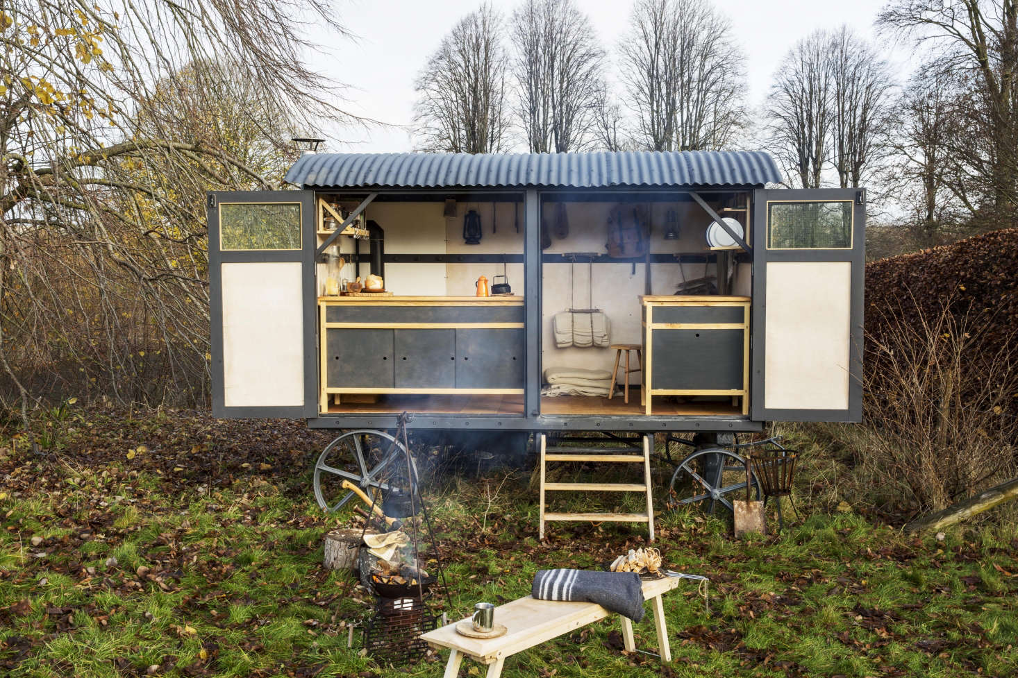 Ideas to take away from hipster homesteaders? Remodel a shepherd's hut and cook outdoors in the fields, raise a hammock, and let sheep graze instead of mowing. Read more in11 Garden Ideas to Steal from Hipster Homesteaders, one of the most popular posts of the year.