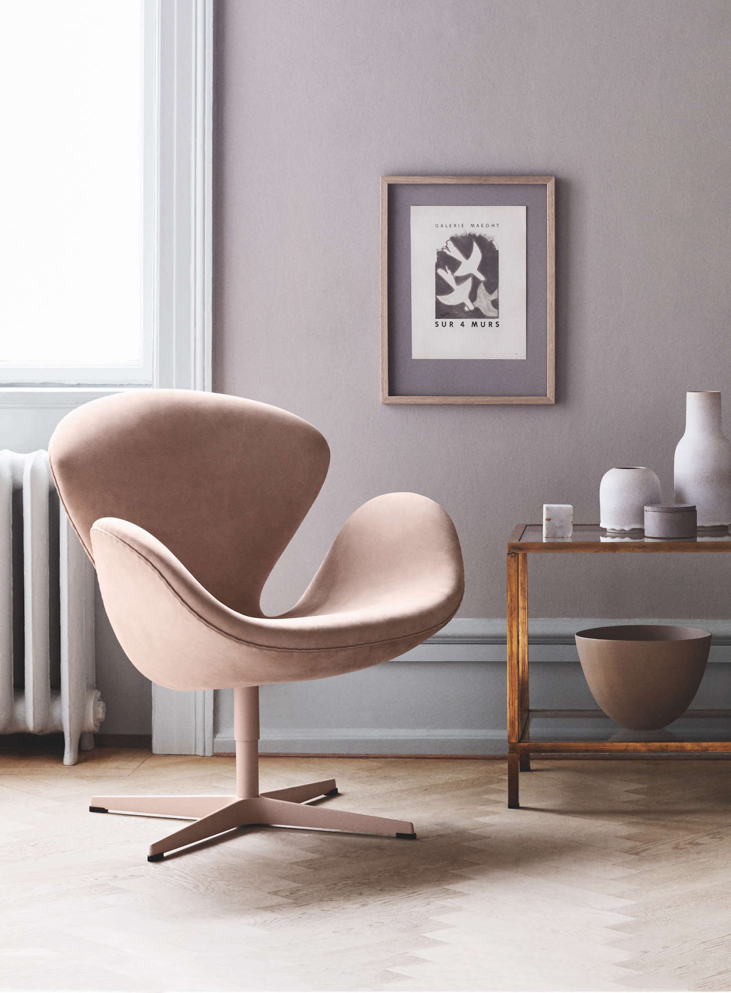 Instantly Recognizable: The Swan Chair, Shown In Pale Pink, Designed By  Arne Jacobsen
