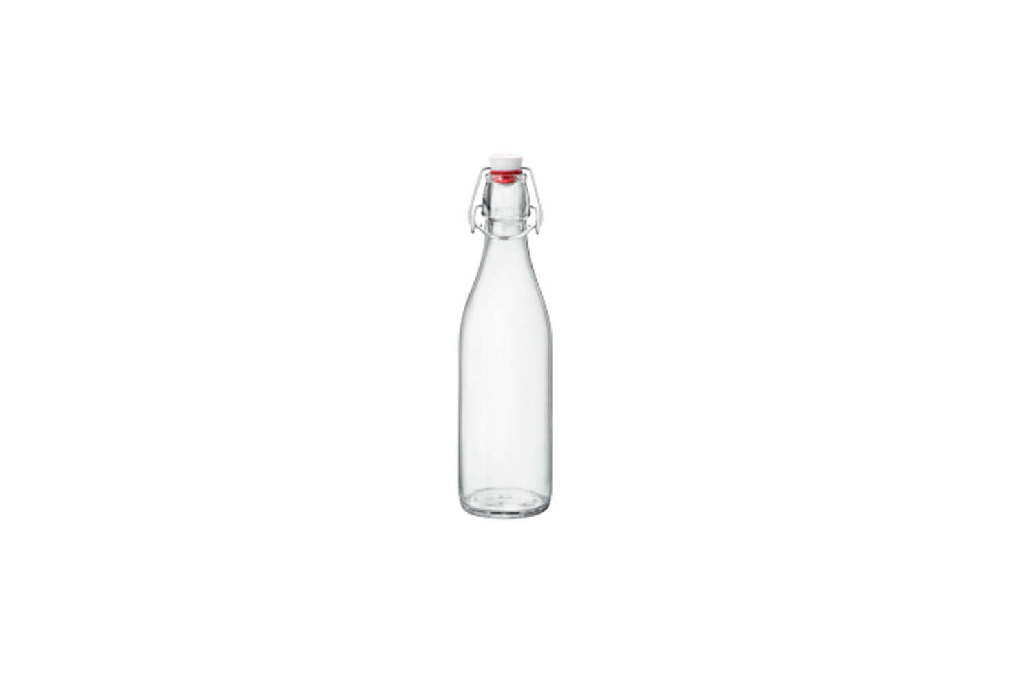 The classic Italian Bormioli Rocco Giara Clear Glass Bottle can be used to serve water and other drinks, as a vase, and storage bottle; $7.51 on Amazon.