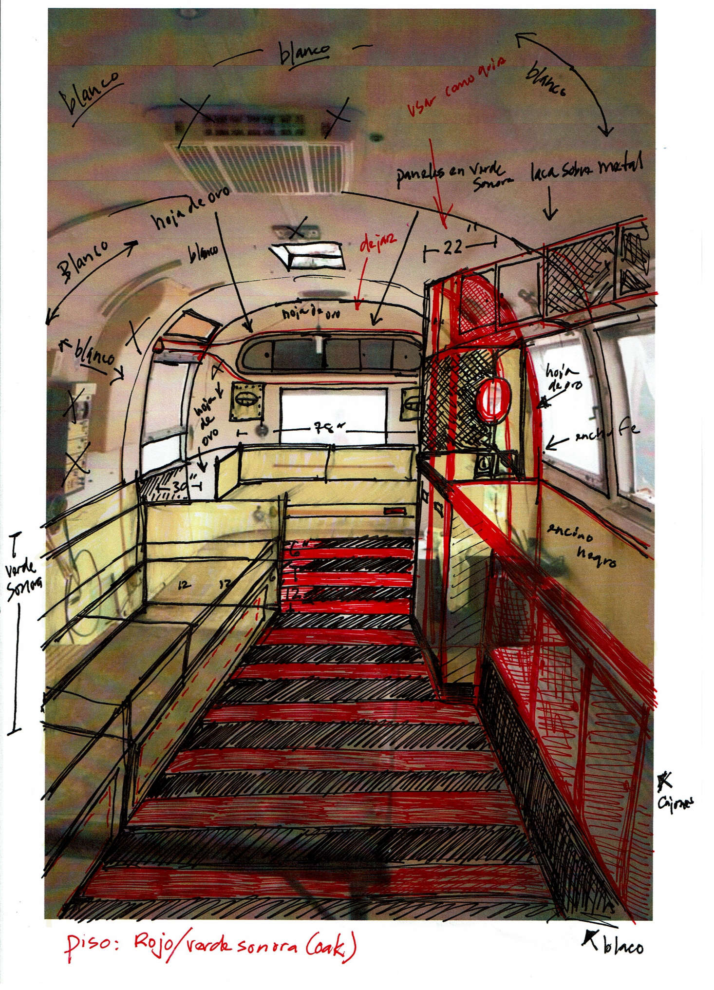 Jorge sketched his makeover ideas on a photo of the existing interior.