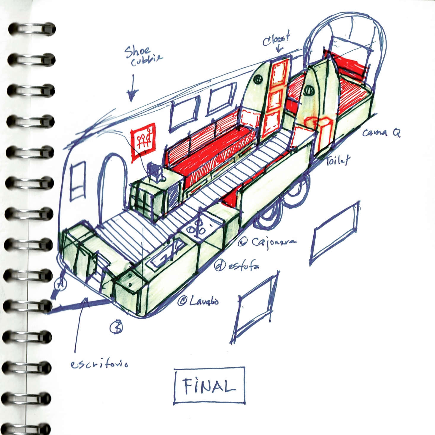 Another plan in progress: Though labeled final, things ultimately shifted around quite a bit—and the kitchen sink and shoe cubby were both deemed unnecessary.