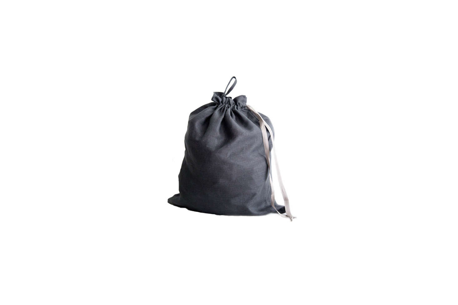 Source a linen drawstring bag from Etsy, like the Large Linen Laundry Bag(shown) in dark gray for $4