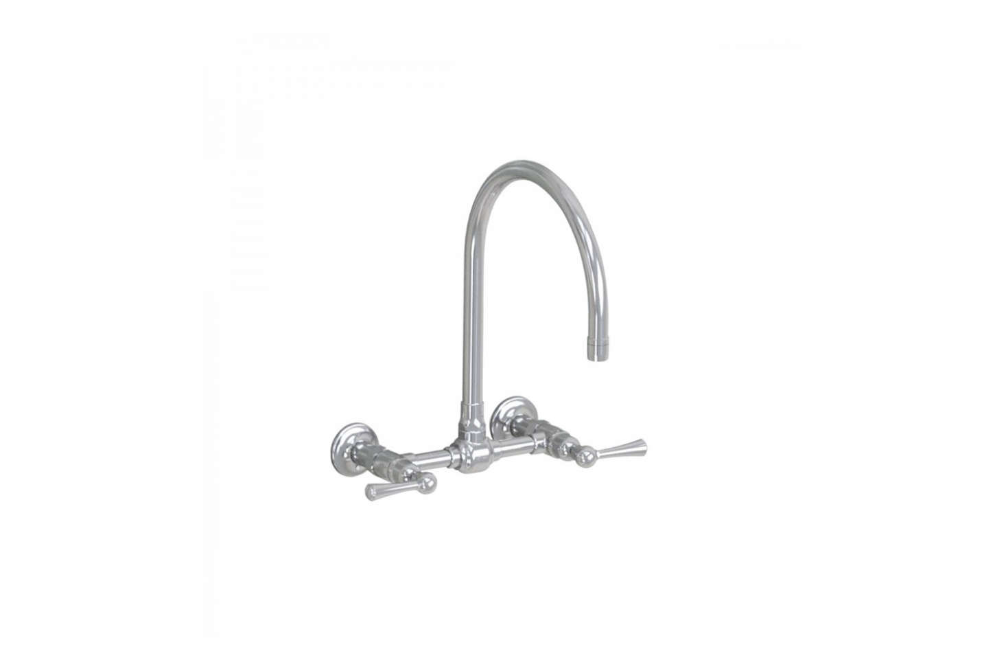 The Jaclo Wall Mount Faucet with a 10-inch swivel spout and metal lever; $1,425 at Jaclo.