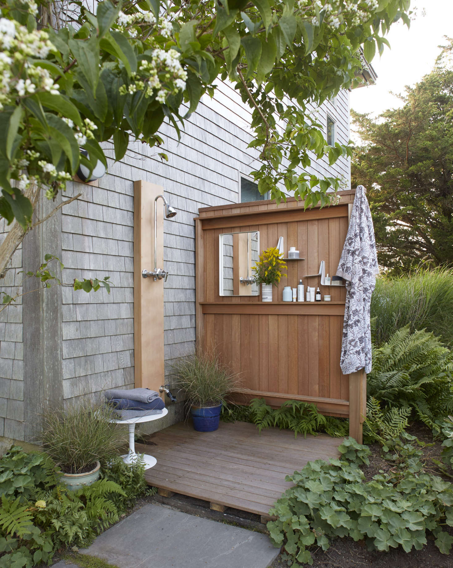 The outdoor shower is just outside the master bath, but it&#8