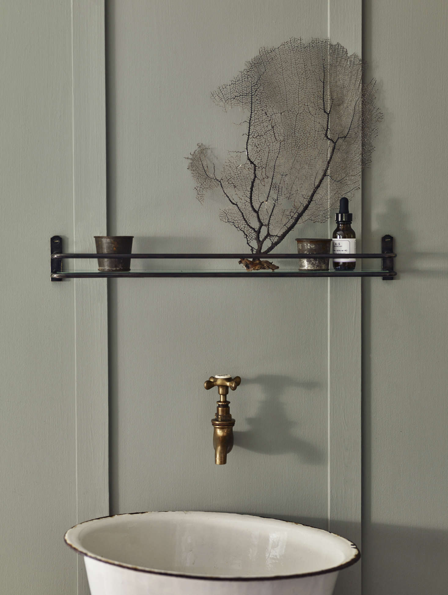 Another Bilton Bathroom Shelf, This One In Blackened Bronze. With A Simple  Glass Inset