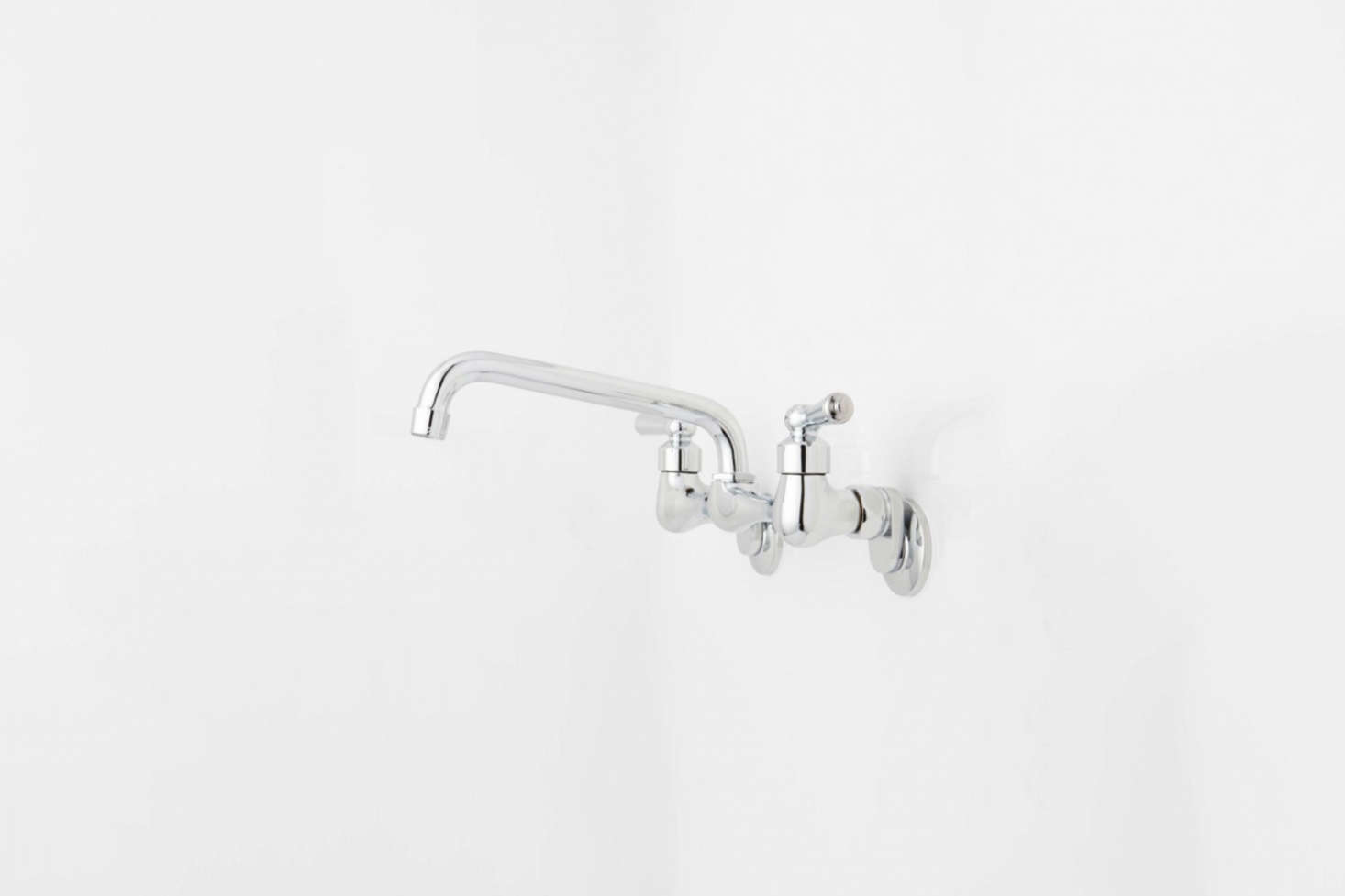 At Signature Hardware the Wall-Mount Faucet Swing Sprout with an eight-inch swing spout and lever handles is $129.95.