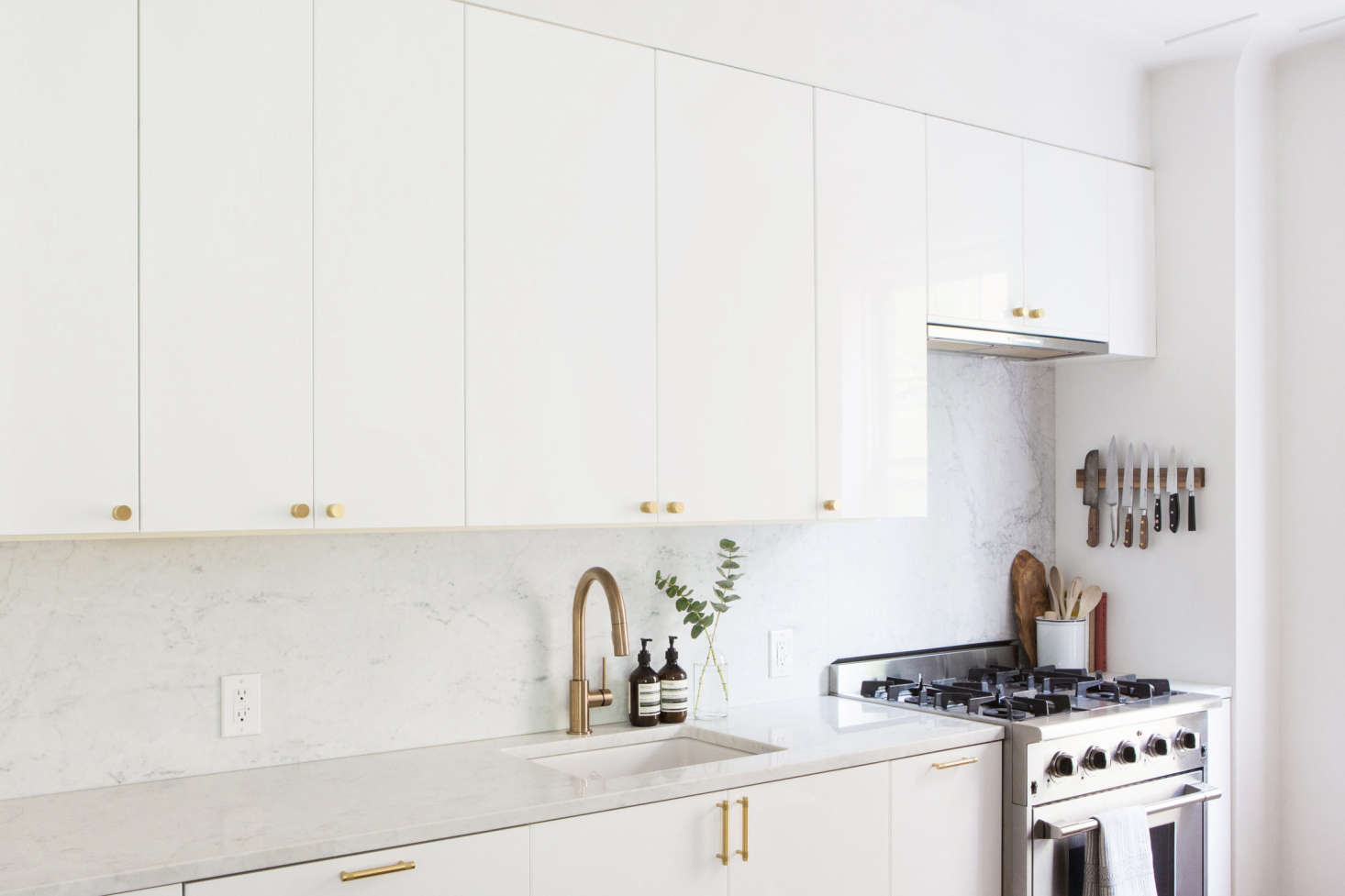 The Kitchen Is A Modified Ikea System With Ringhult Glossy White Cabinet  Doors And Brass Hardware