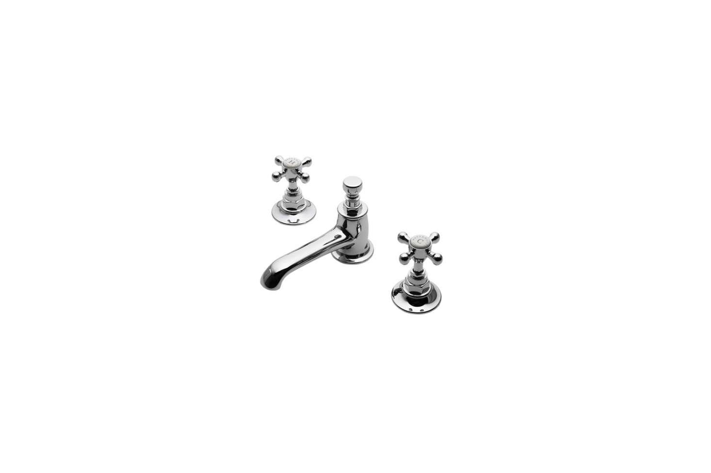 The sink faucet is the Highgate Low Profile Three Hole Deck Mounted Lavatory Faucet with Metal Cross Handles; $65src=