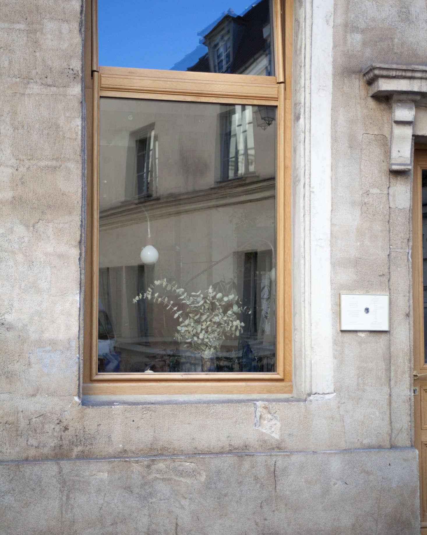 An arrangement of dried eucalyptus seen through the window.