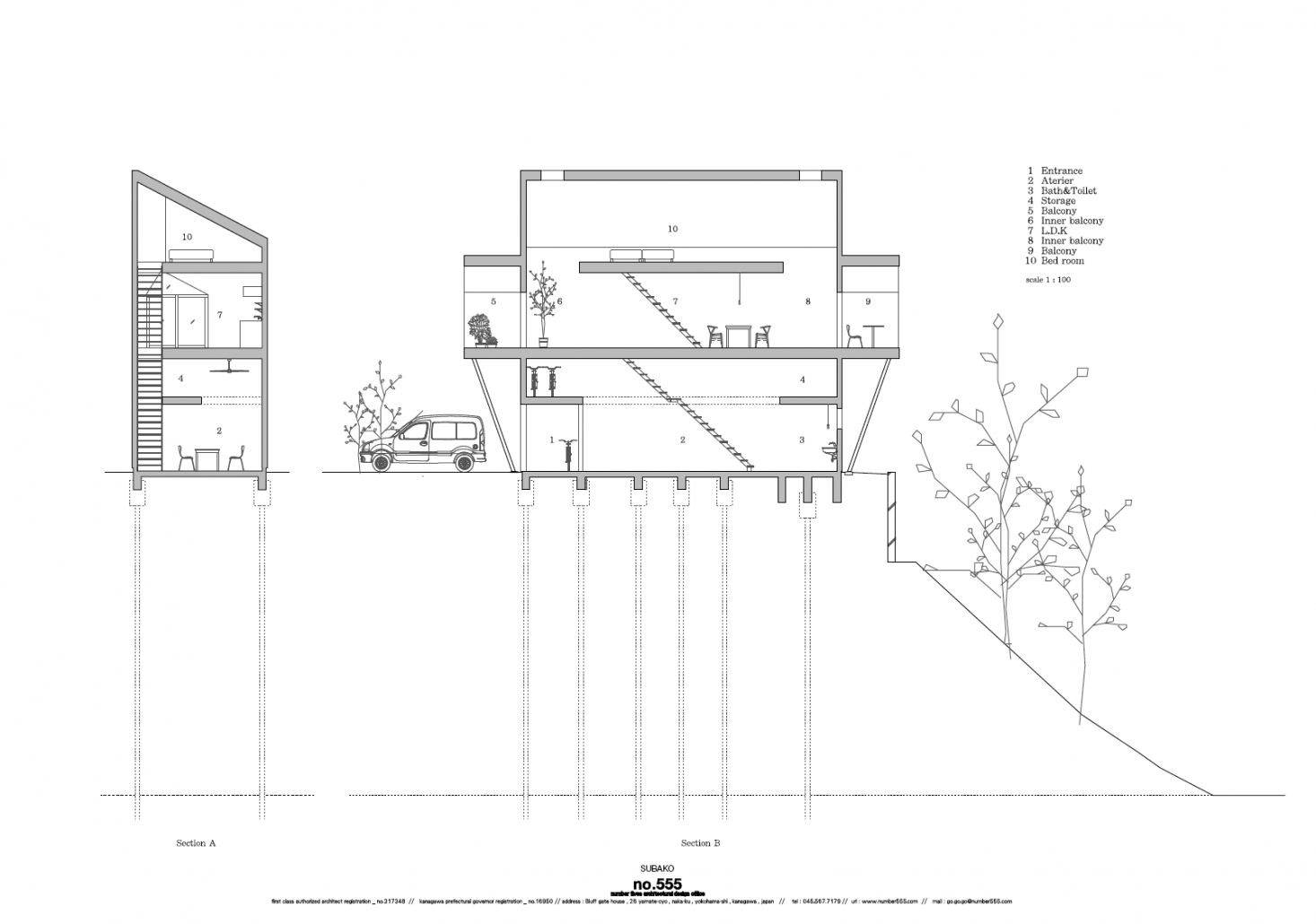 No. 555's cross-section of the design details the loft spaces over each of the floors.
