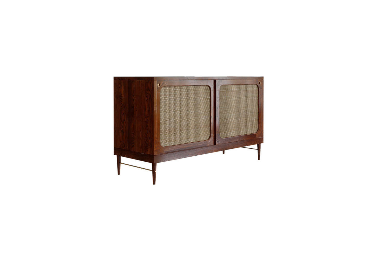 Lind & Almond's A Sideboard for Sanders is made of European oak (also available in chestnut) and rattan. Contact Lind & Almond for ordering information.