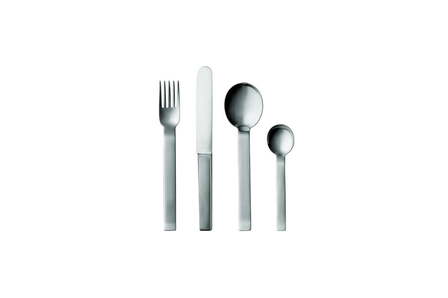 The Pott no. 35 Five-Piece Place Setting was designed by Carl Pott in 79 with a geometric shape and matte finish stainless steel; $4 for the set at Kneen & Co.