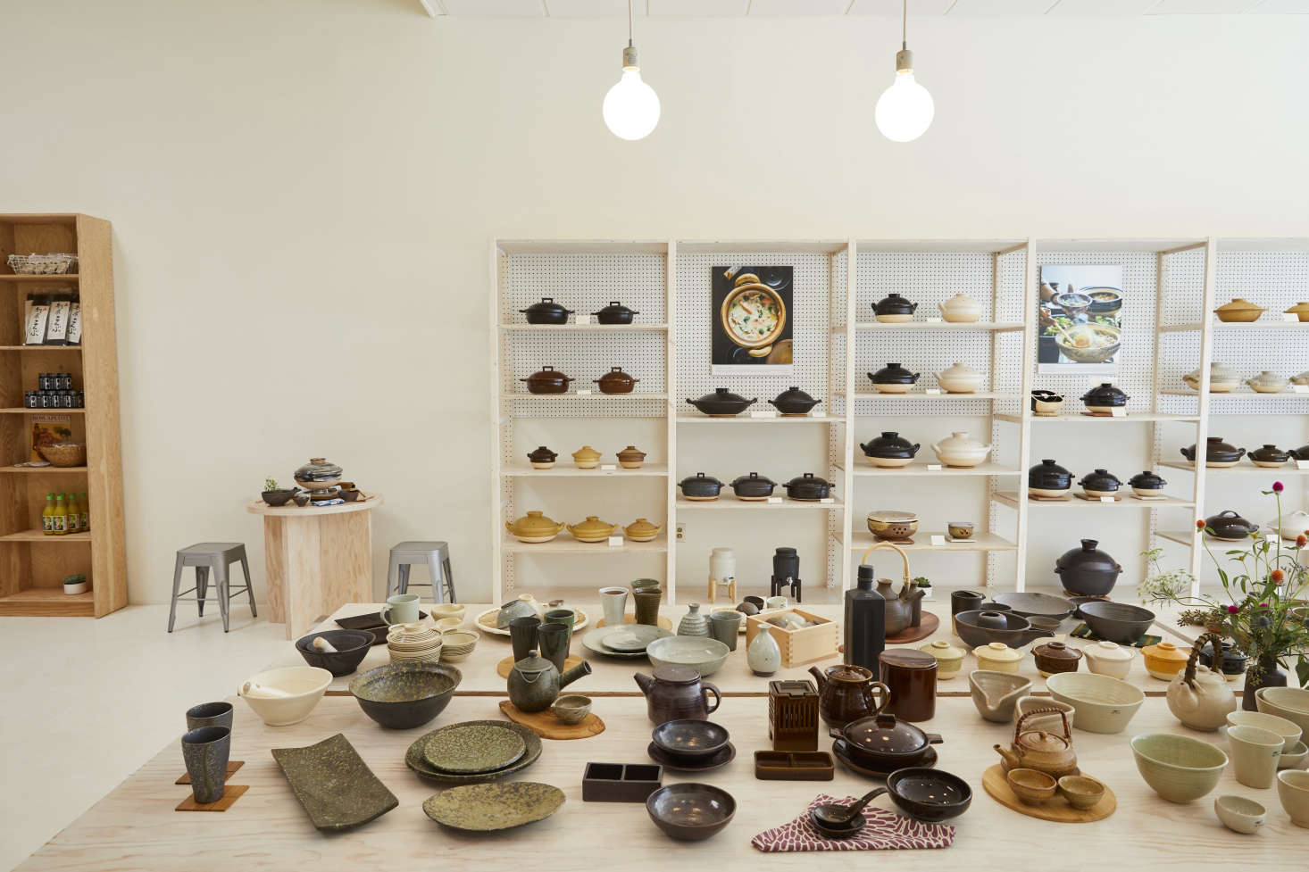 Shelves at the front of the store prominently feature Takei Moore's donabe offerings, including Rice Cookers, Steamers, Smokers, and more. (A style of donabe exists for almost every style of cooking.)