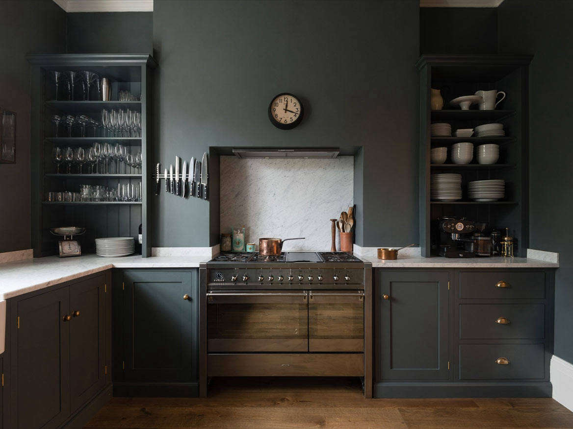 Last April, bespoke cupboard makers Plain English opened up shop in Greenwich Village, NY, and the slightly less pricey company deVol (shown above, the company's Bloomsburg Dark Shaker Cabinets) is opening a showroom at 28 Bond Street in the NoHo district of Manhattan in early 2019.