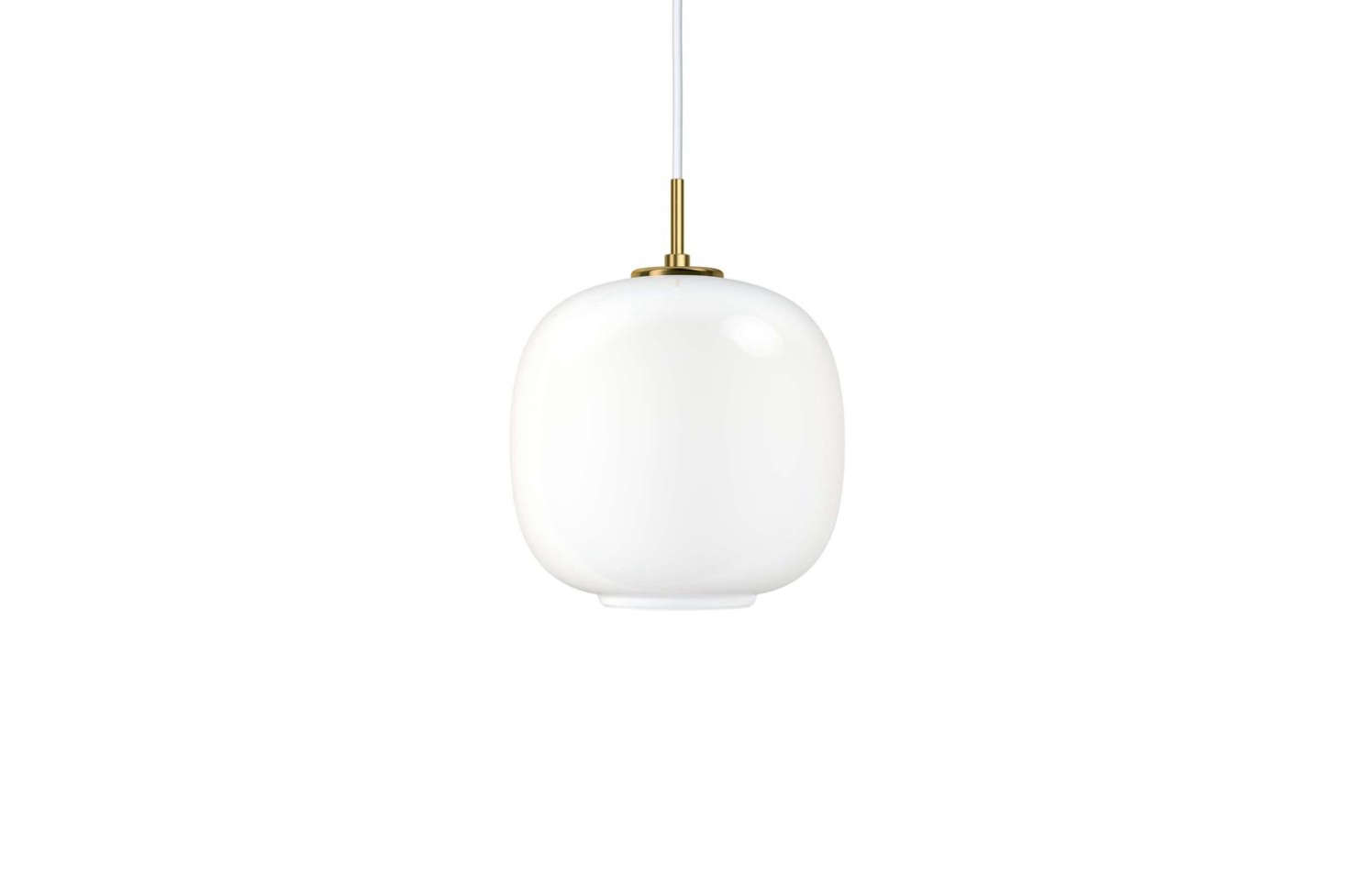 :Each Radiohus pendant is made of three layers of handblown glass, with the innermost and outermost layers made of transparent polished glass, with white glass for the middle layer. The Large VL45 Radiohus Pendant is $830 and the Small VL45 Radiohus Pendant is $620 at Y Lighting.