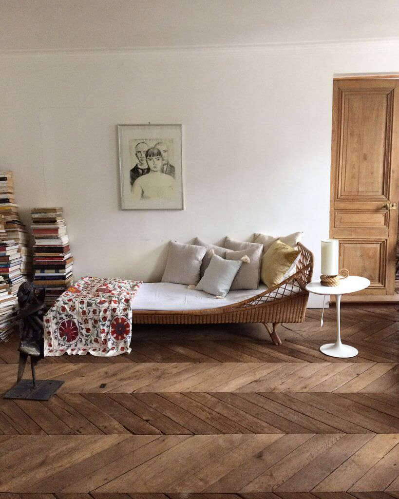 A 1960s rattan daybed from Atelier Vime, the aforementioned French brand, which offers both vintage and new designs: Read about it in Rattan Revival. We hope the atelier adds a daybed to its contemporary lineup.