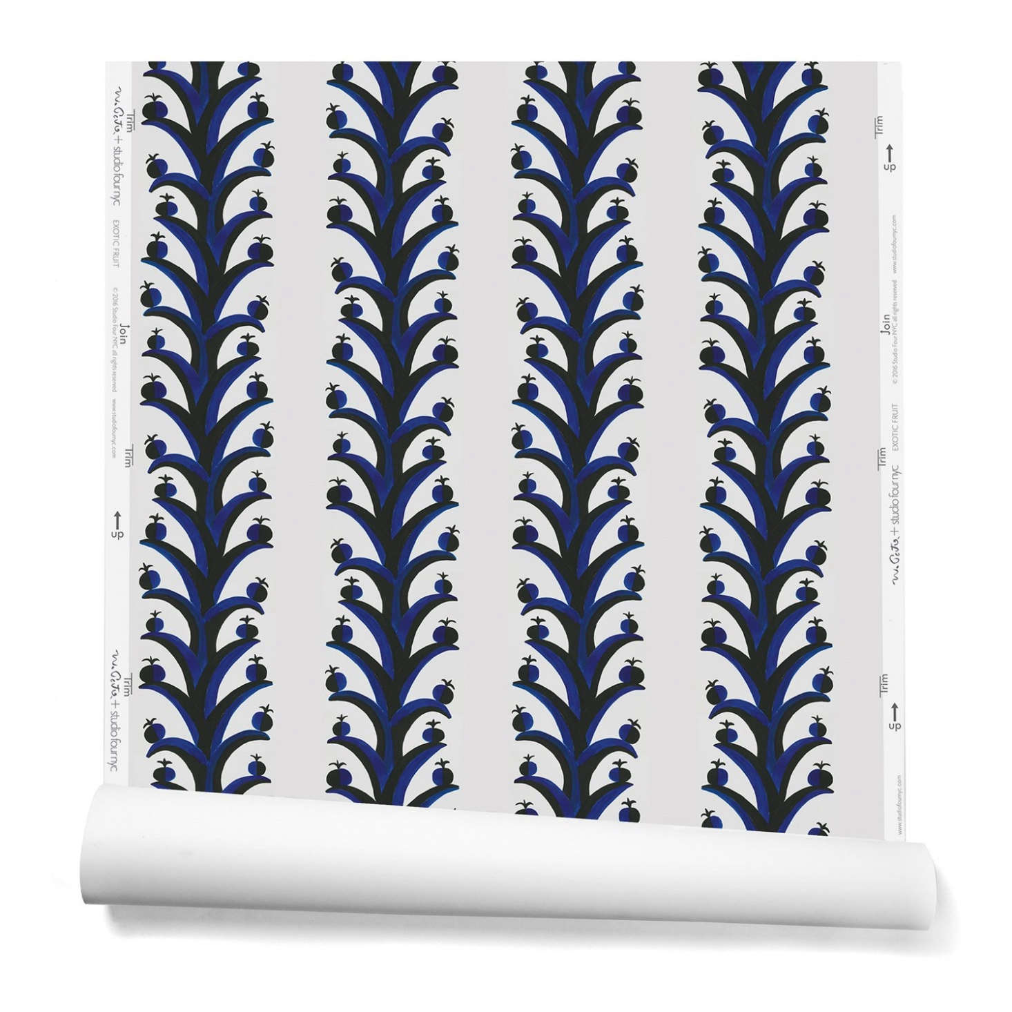 Exotic Fruit Wallpaper, a botanical stripe, is $67.50 per yard; 8-by