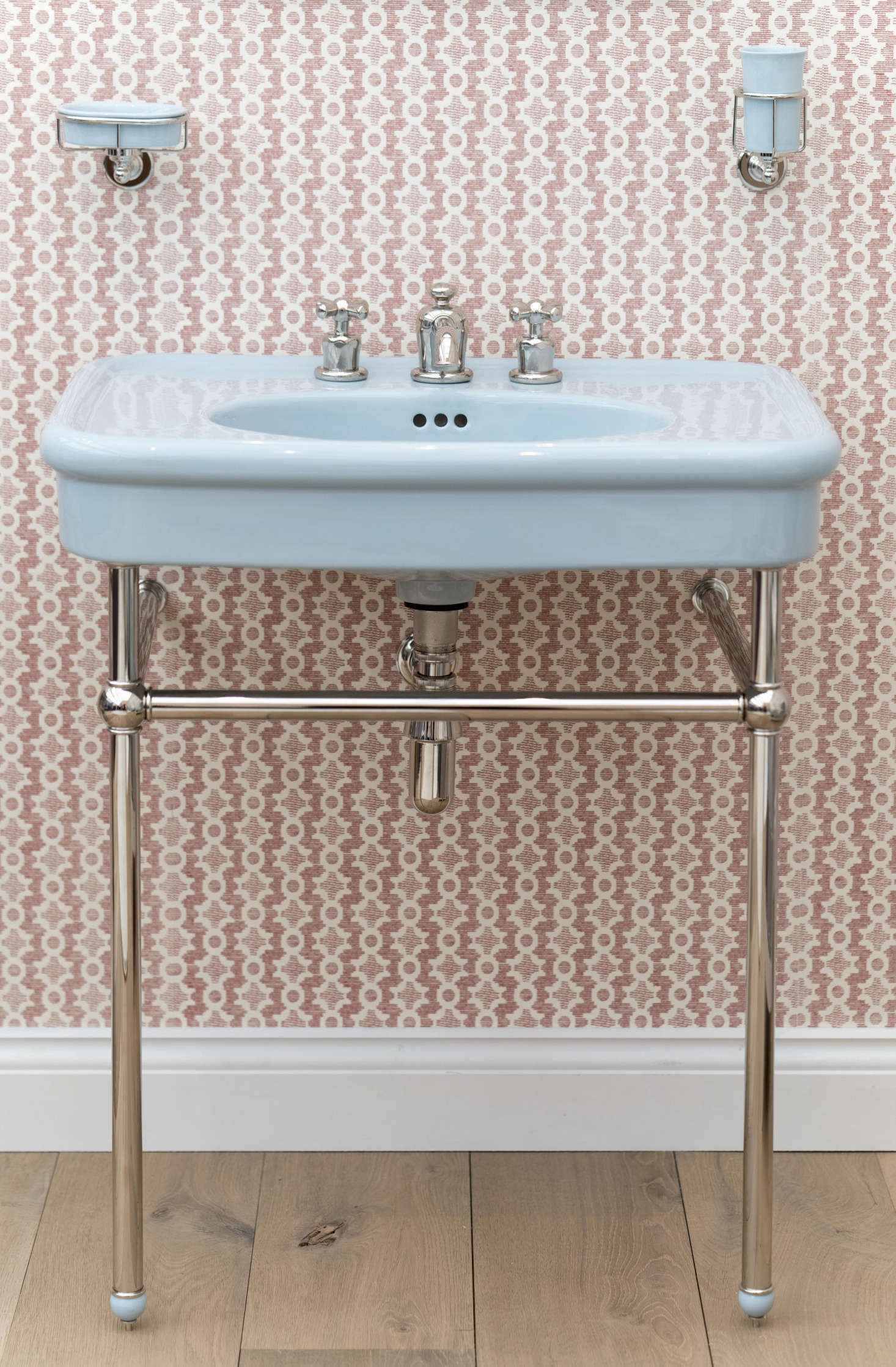 The Colored Rockwell Basin, is available in Powder Blue (shown), Willow Green, and Sherbet Yellow; £1,515.