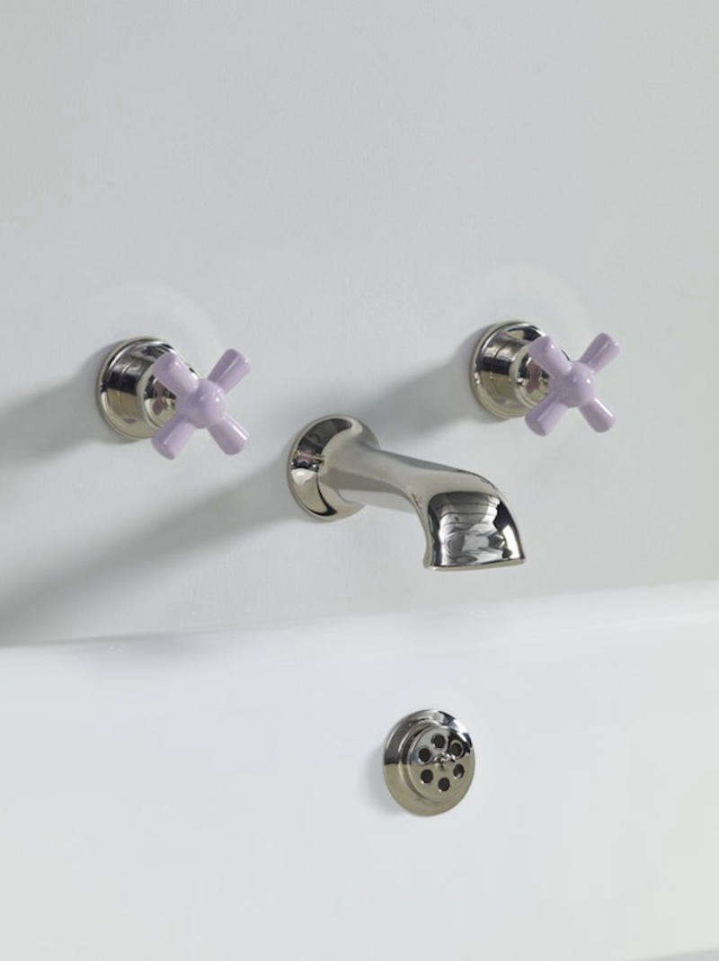 The Rockwell Wall Mounted Bath Cast Spout, shown in Bonbon Lilac, is £640.