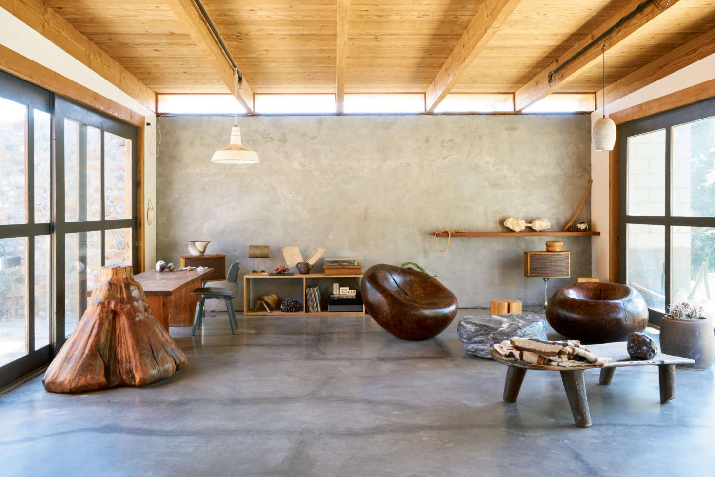 On Display In Almau0027s Living Space: Sculptural Carved Works, Some That  Function As Furniture