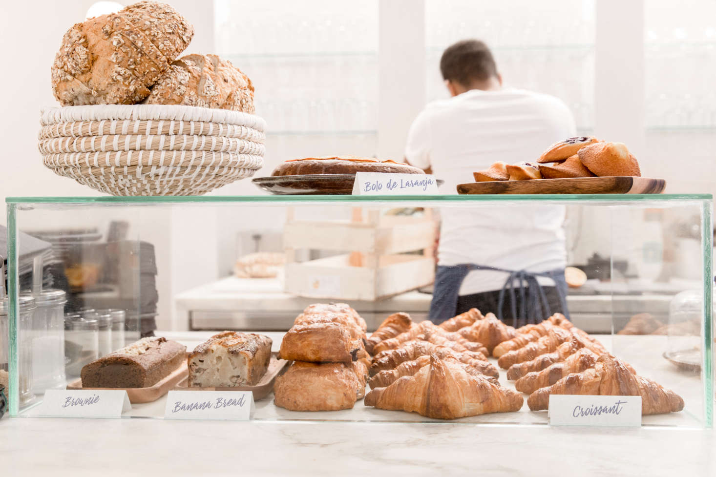 A glass case displays the day's pastries.