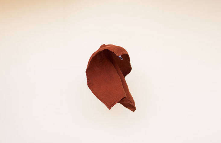 """A Perfect Linen Napkin ($20), this one in Rust.The collection is """"informed by Alex's upbringing in a home of artists and anthropologists in the Northeast, my own family's deep roots in Los Angeles and northern Mexico, and our chosen home of the western North Carolina mountains,"""" Connie says."""