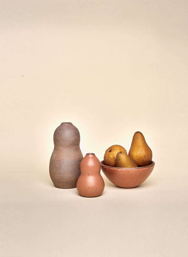 ALarge Contour Vase (currently unavailable) alongside a Small Contour Vase($56)and Medium Potter's Bowl($42), both in Utah.