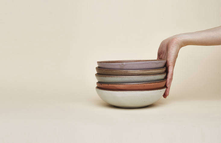 """Everyday Bowls($48), """"the most popular and versatile personal bowls we make,"""" the team says, in old and new colorways. Although each piece is handmade, the ceramics have a sturdy uniformity about them. """"There areveryfew workshops in the the US that make afull range of dinnerware that can be stacked high in bus bins, put through a commercial dishwasher, look consistent from plate to plate, but still have the grounding quality of something handmade,"""" Connie says."""