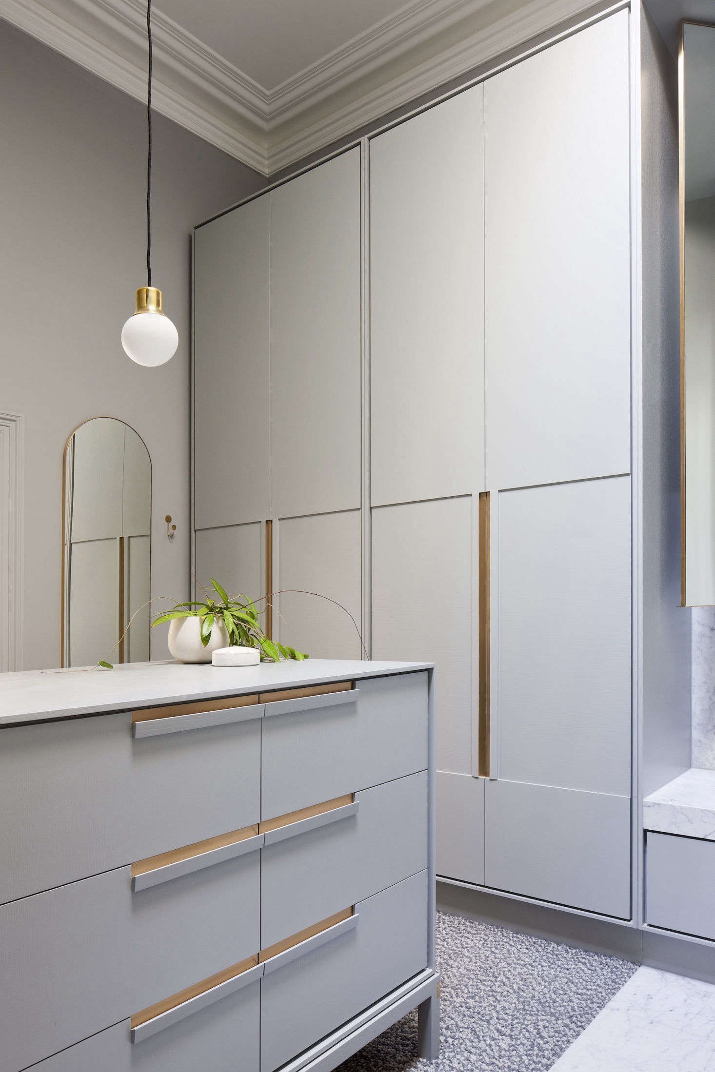A large walk-in closet comprises the other half of the en suite master bath.