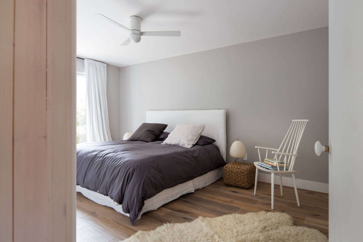 The bedrooms are the only rooms with painted walls.