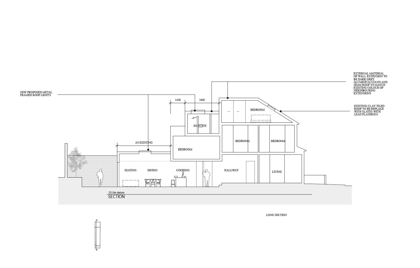 A cross-section plan details the new flow: a small living area in the front of the house, three bedrooms on the middle floor, and the master bedroom and bath incorporated into the roof and extensions.