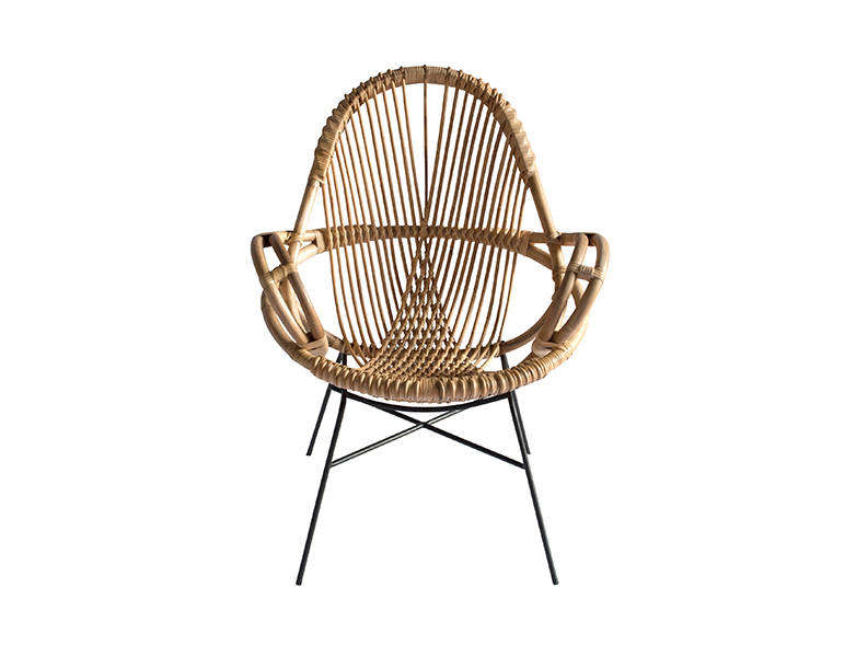 The Diamond Rattan Chair has an iron base and is inspired by European designs from the 60s. It&#8