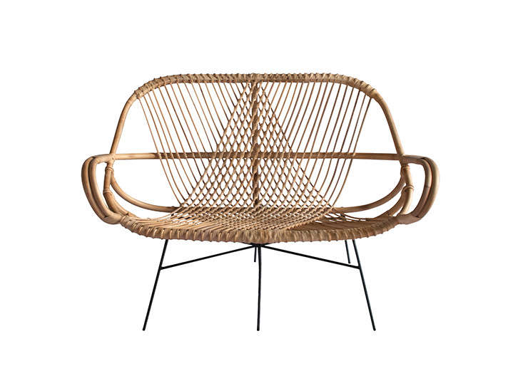 The matching Diamond Rattan Settee best showcases the diamond pattern created when strip rattan (the narrower pieces) is woven around pole rattan (the thicker ones). It&#8