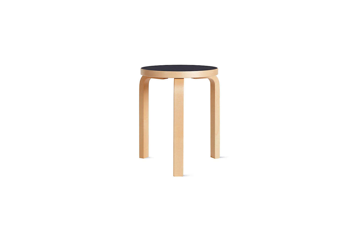 The Alvar Aalto Stool 60 with a linoleum black top is $