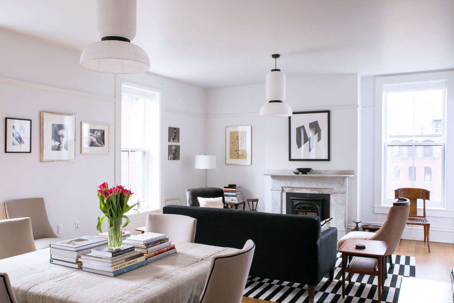 Light, reflected off the white walls and ceiling, gives the spaces a fresh, open feel.