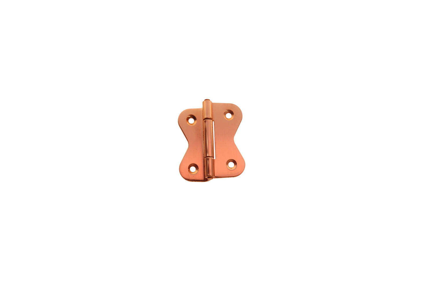 For similar polished copper kitchen cabinet hinges, consider the Hoosier Offset Cabinet Hinge in polished copper for $6. each at Historic House Parts.