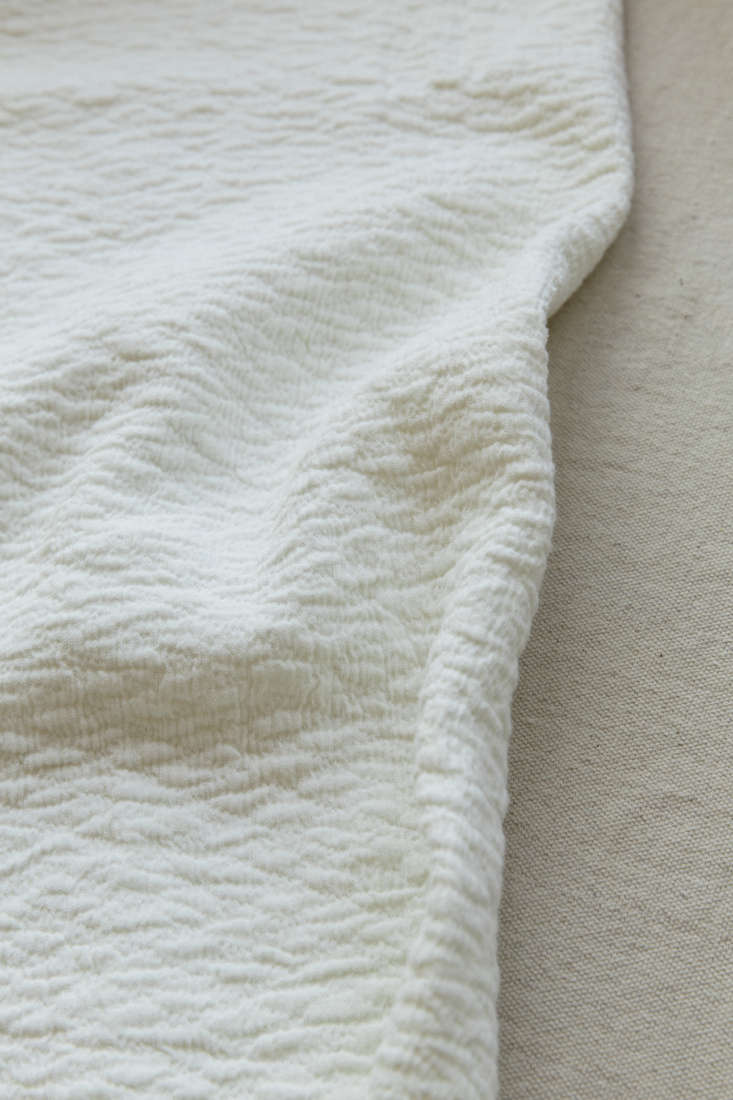 Detail of Alma Bedding Collection by Sferra in Annie Quigley Bedroom, Photo by Mel Walbridge for Remodelista