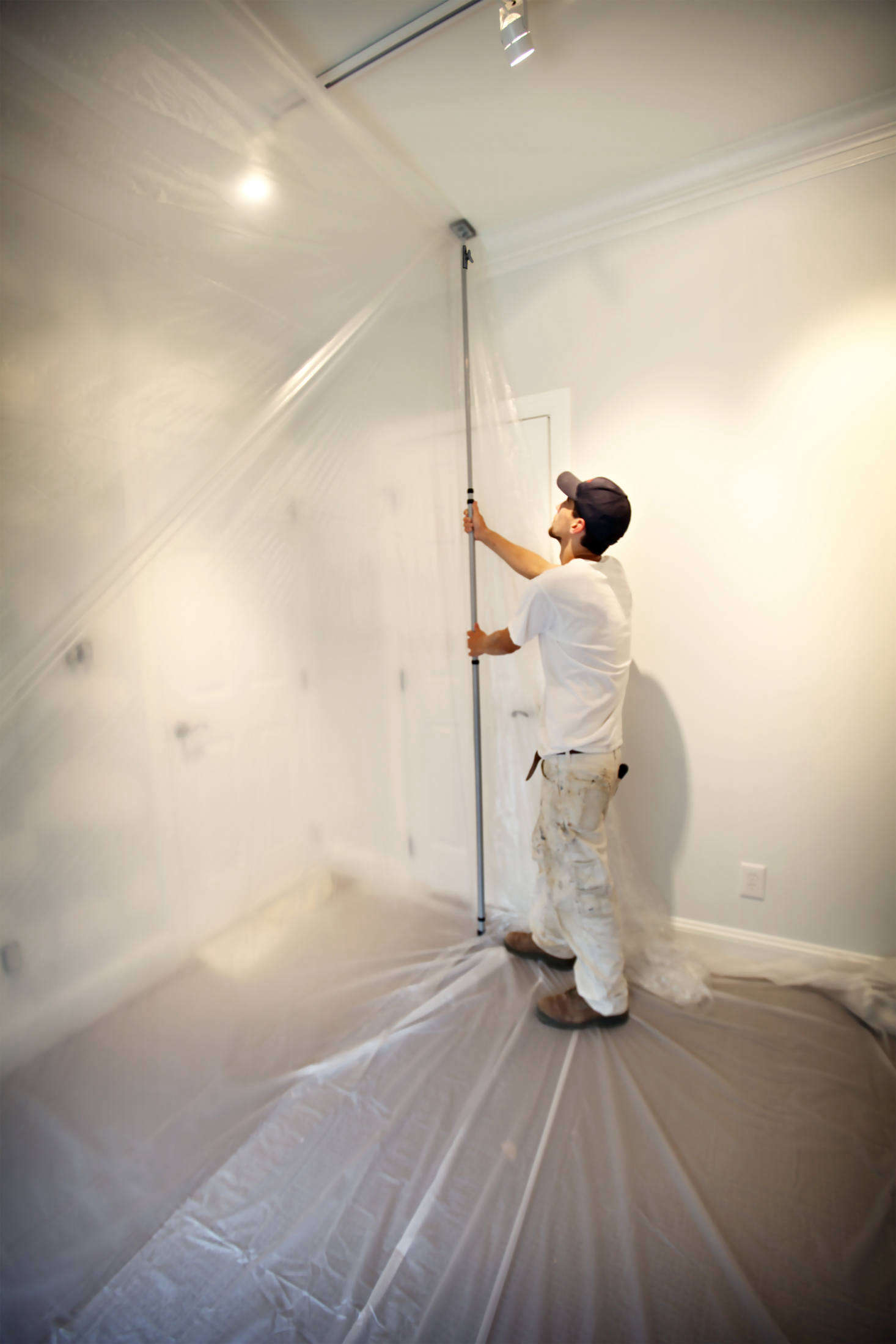 For dust containment, Trimaco's EZ Up Dust Containment Poles work with plastic sheeting to create a dust barrier. Creating the barrier can be a one-person job: Simply clip the plastic sheeting to the pole and adjust to your ceiling height, then lock the pole in place. The poles reach a height of 12 feet, which makes them suitable for multiple ceiling heights.