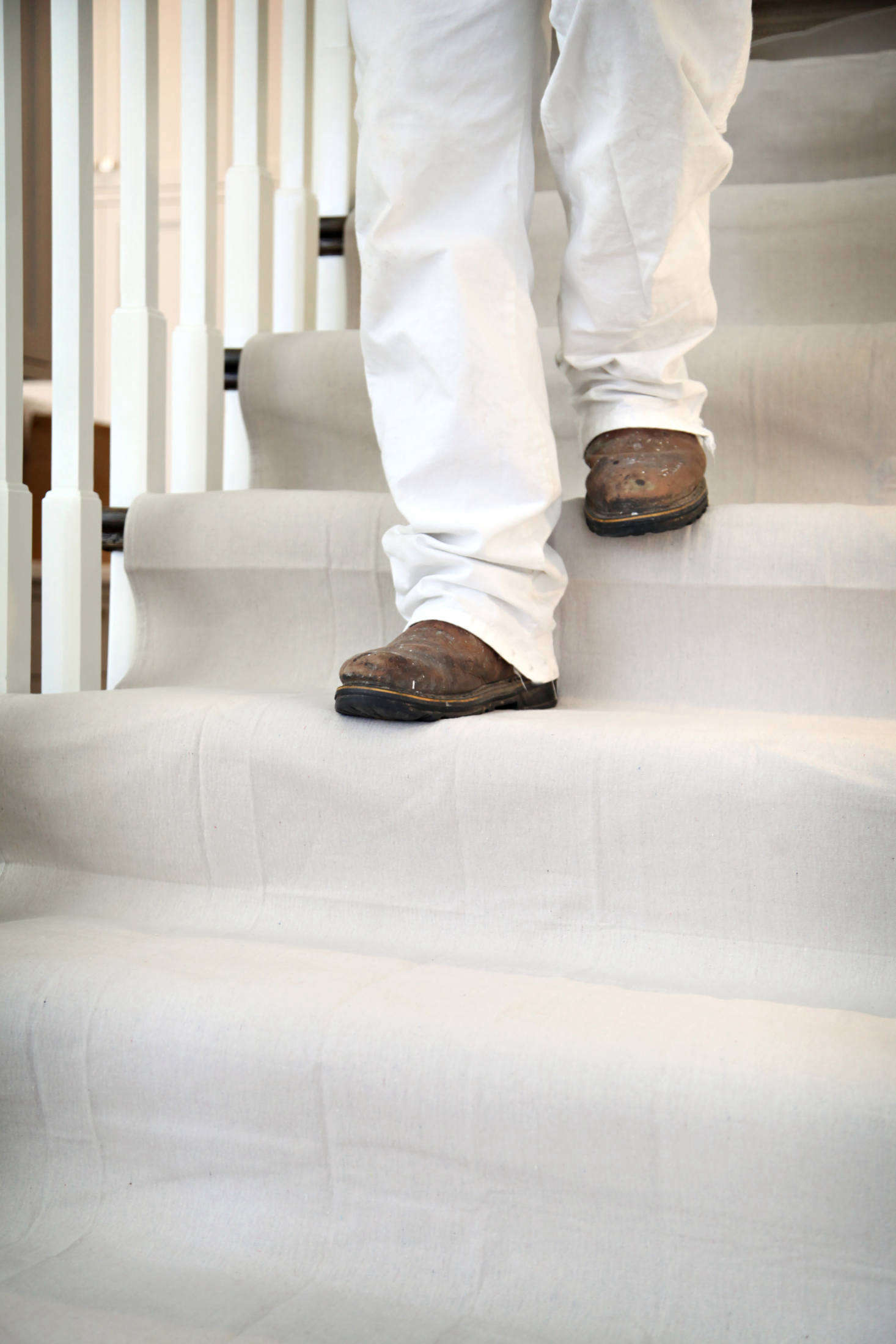 Trimaco's Stay Put Canvas Dropcloths have three layers: a layer of absorbent canvas, a leak-resistant plastic layer, and a nonslip backing that makes the dropcloth 300 percent more slip-resistant than standard eight-ounce canvas.