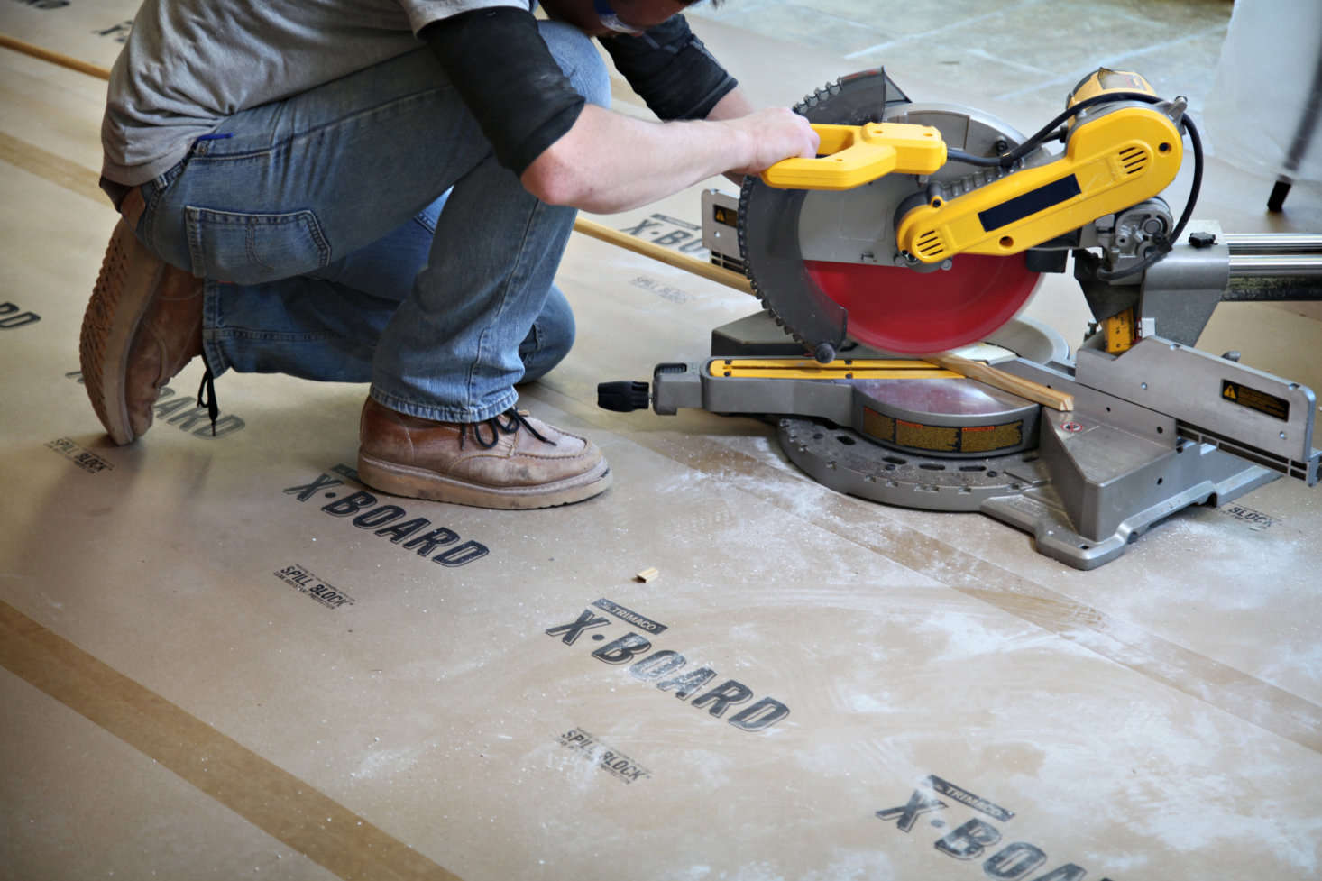 Trimaco's X-Board is 2½ times thicker than standard builder's paper and protects against paint, mud, water, and other liquid spills while remaining breathable enough for floors that are still curing.